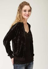 Crushed Velvet Bomber Jacket Black XL
