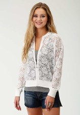 Lace Bomber Jacket White XL