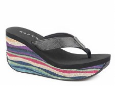 Black Multi Color Stripe Wedge 6 B
