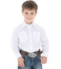 Boys Western Shirt White SM L/S