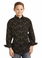Boys R&R Steerhead Print Black MED