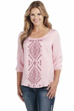 CG Up Embroiderd Blouse Pink LG 3/4 SLV
