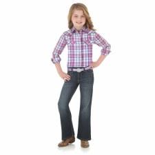 Girls Plaid Snap White/Purple XL