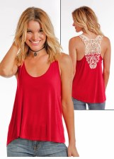 Crochet Lace Back Tank Red MED
