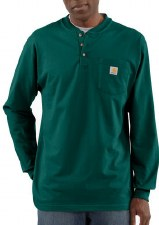 MNS POCKET L/S HENLEY HUNTER GREEN XLARG
