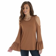 Braid Trim Cold Shoulder Brown MED
