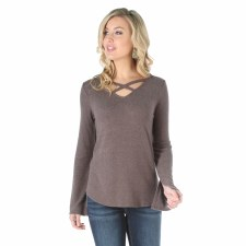 Criss Cross Neckline Sweater Mocha MED