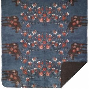 "Denali Moose Blossom American Dakota Microplush Throw 60""x70"" Blue/Taupe"