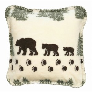 "Denali Pearl Denali Bear Microplush Pillow 18""x18"" Sage"