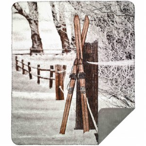 "Denali Vintage Skis MicroplushThrow  60""x70"" Sterling"