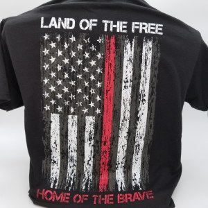 Pacific Art Land of the Free Firefighter S/S Tee Large Black