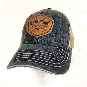 Royal Resortwear New Hampshire Leather Patch Trucker Cap One Size Navy