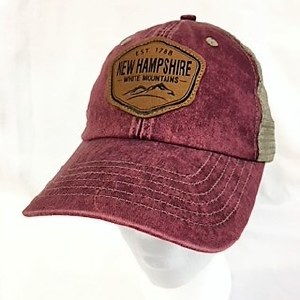 Royal Resortwear New Hampshire Leather Patch Trucker Cap One Size Maroon