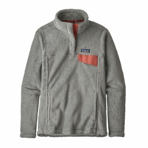 Patagonia Women's Re-tool Snap-T Fleece Pullover Medium Tailored Grey - Nickel X-Dye w/Aurea Pink