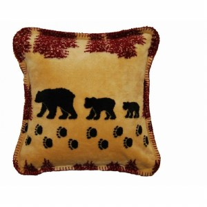 "Denali Wheat Denali Bear Microplush Pillow 18""x18"" Merlot"
