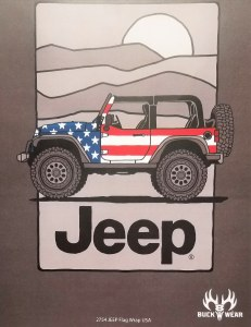 Buck Wear Inc Jeep Flag Wrap USA S/S Tee L Dark Heather