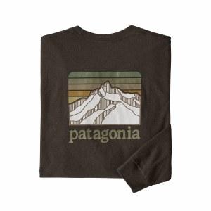 Patagonia Men's Long-Sleeved Line Logo Ridge Responsibili-Tee Large Logwood Brown