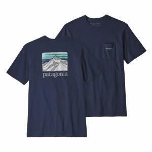 Patagonia Men's Line Logo Ridge Pocket Responsibili-Tee Large Classic Navy