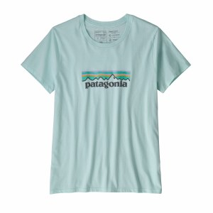 Patagonia Women's Patel P-6 Logo Organic Cotton Crew T-Shirt Medium Atoll Blue
