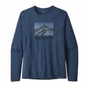Patagonia Men's Long-Sleeved Capilene Cool Daily Graphic Shirt Large Line Logo Ridge: Stone Blue X-Dye