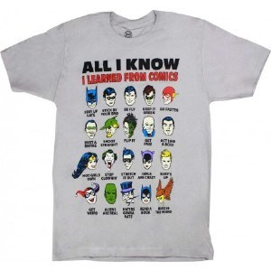 """Changes DC Comics """"All I Know"""" T-Shirt Large Silver Grey"""