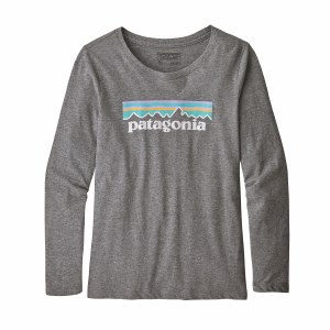 Patagonia Girl's Long-Sleeved Graphic Organic T-Shirt Small Gravel Heather