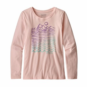 Patagonia Girl's Long-Sleeved Graphic Organic T-Shirt Small Pink Opal