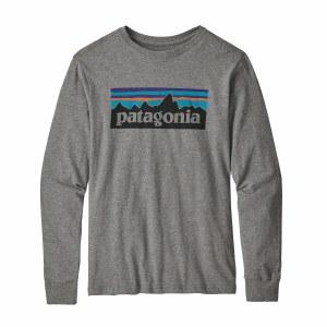 Patagonia Boys' Long-Sleeved Graphic Organic T-Shirt Medium P-6 Logo Gravel Heather
