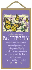 """SJT Enterprises Advise From A Butterfly Sign 5""""x10"""""""