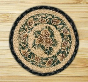"Capitol Earth Rugs Pinecone Round Printed Swatch 10"" x 10"""