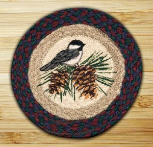 """Capitol Earth Rugs Chickadee Round Printed Swatch 10"""" x 10"""""""