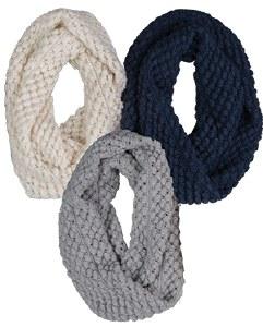 Broner Ladies Grey Popcorn Knit Infinity Scarf OSFA Grey