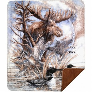 "Denali Moose/Loon Microplush Throw 60""x70"" Spice"