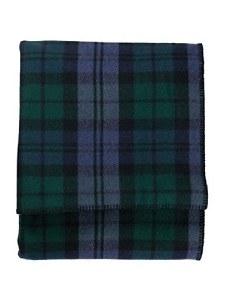 "Pendleton Eco-Wise Washable Wool Plaid/Stripe King Blanket 108""x96"" Black Watch"