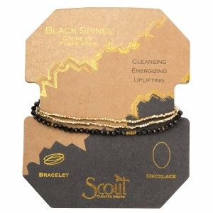 Scout Currated Wears Delicate Stone Wrap Bracelet/Necklace SDW Black Spinel/Gold