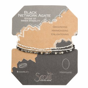 Scout Currated Wears Delicate Stone Wrap Bracelet/Necklace SDW Black Network Agate/Silver