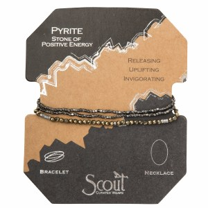 Scout Currated Wears Delicate Stone Wrap Bracelet/Necklace SDW Pyrite/Silver