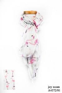 Joy Susan Flamingo Print Scarf 80 x180 cm White