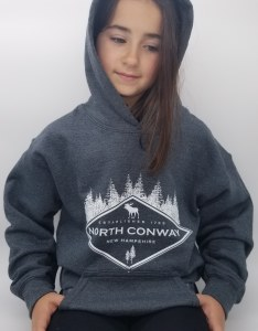 Luba Designs Diamond New Hampshire Youth Hoodie Large Graphite