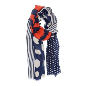 Joy Susan Red White Navy Dots & Stripes Scarf 90x180cm Multi