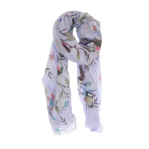 Joy Susan Birds in a Cherry Tree Scarf 70x180cm Periwinkle