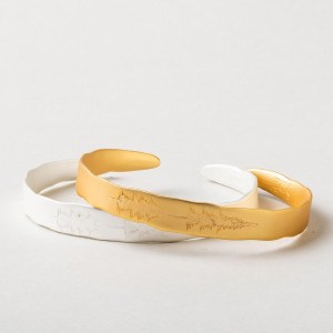 """Scout Currated Wears Echo Cuff: """"You make me happy"""" EC Sterling Silver Dipped"""