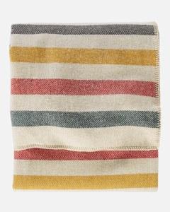 "Pendleton Eco-Wise Washable Wool Plaid/Stripe King Blanket 108""x96"" Glacier Park White"
