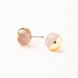 Scout Currated Wears Dipped Stone Stud Earring DIPPED STONE STUDS  Rose Quartz/Gold