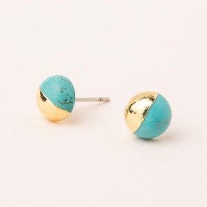 Scout Currated Wears Dipped Stone Stud Earring DIPPED STONE STUDS  Turquoise/Gold