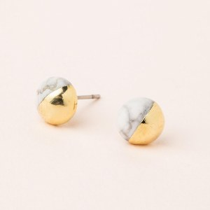 Scout Currated Wears Dipped Stone Stud Earring DIPPED STONE STUDS  Howlite/Gold