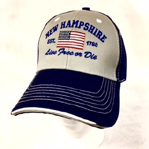 Royal Resortwear New Hampshire Live Free Or Die USA Flag Ball Cap One Size Grey/Royal