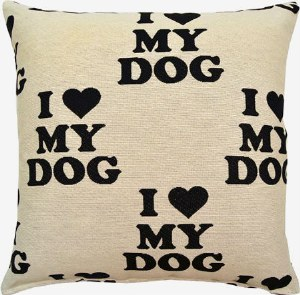 Creative Home Furnishings I Love My Dog Pillow 17x17 Black
