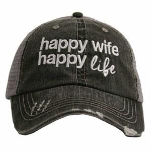 KATYDID Happy Wife Happy Life Trucker Hat One Size Grey