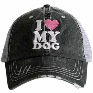 KATYDID I Love My Dog Trucker Hat One Size Grey